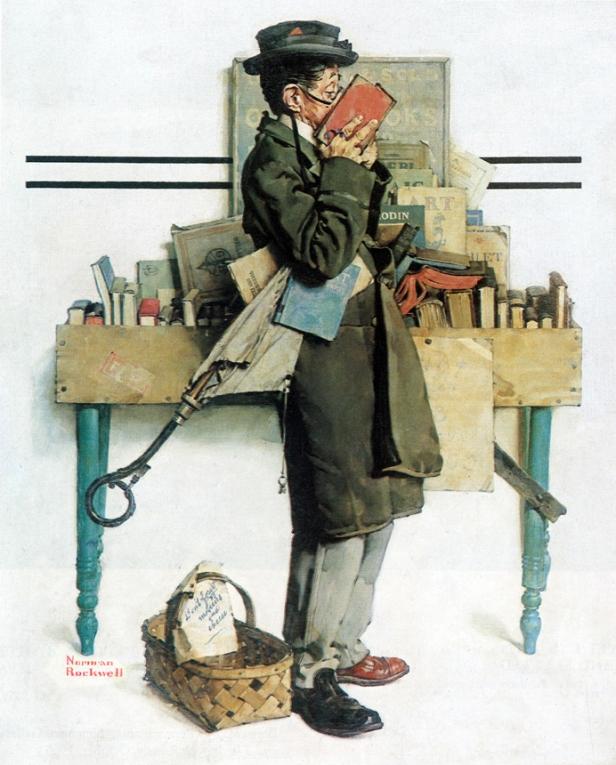 Norman Rockwell - The bookworm, portada para The Saturday Evening Post (14 de Agosto, 1926)