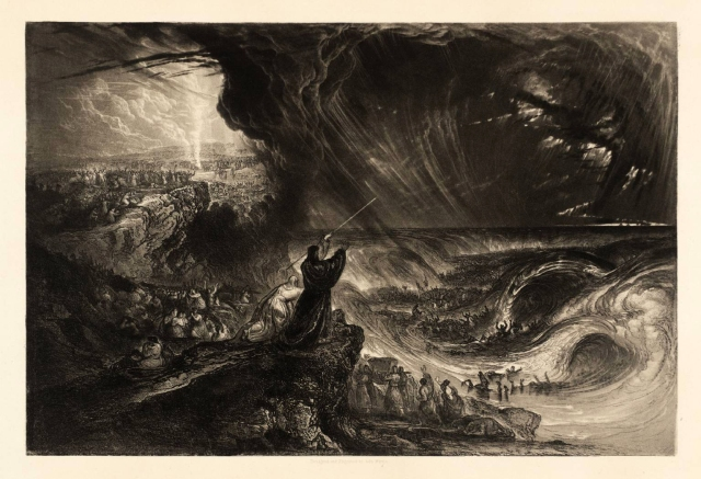 Plate from 'Illustrations to the Bible': The Destruction of the Pharoah's Host published 1833 by John Martin 1789-1854